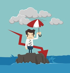 Businessman with umbrella standing in the sea vector