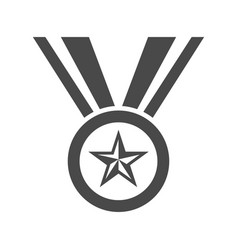 champion medal with star and ribbon icon vector image vector image