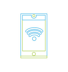 color line smartphone technology with wifi vector image vector image