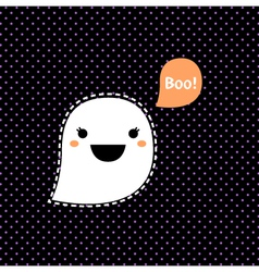 Cute kawaii halloween ghost isolated on black vector