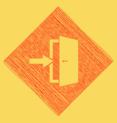 Door exit sign red scribble icon obtained vector