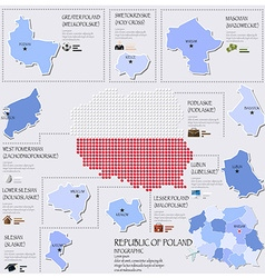Dot and flag map of republic of poland infographic vector
