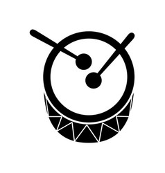 Drum and drumsticks bass music top view icon vector