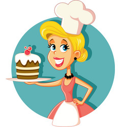 Female pastry chef baking a cake vector