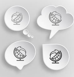 Globe and arrow White flat buttons on gray vector image vector image