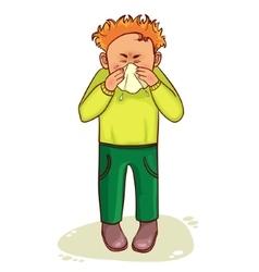 Ill little cartoon man sneezes image vector
