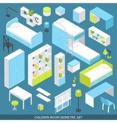 Isometric children room icon set vector