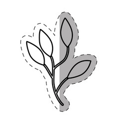 Leaves branch image cut line vector