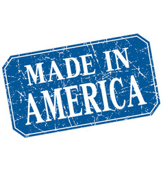 Made in america blue square grunge stamp vector