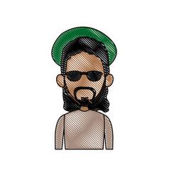 Man facelessfigure icon flat style image vector