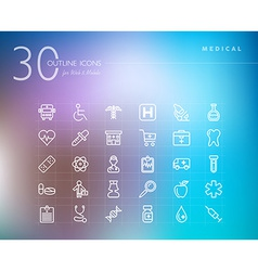 Medical outline icons set vector