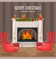 merry christmas card winter fireplace chimney vector image vector image