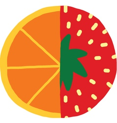 Orange mixed with Strawberry icon vector image vector image