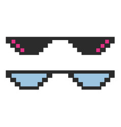 set glasses pixel in art style vector image
