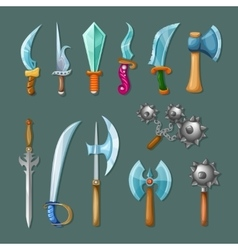 Set icon cartoon weapons vector