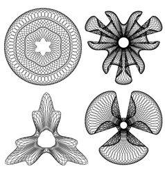Set of 4 guilloche floral pattern vector
