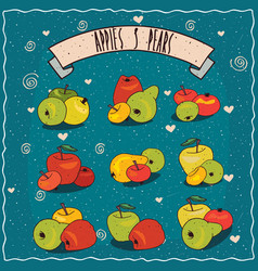 Set of clip art of groups of apples and pears vector
