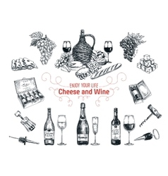 Set of vine and cheese elements vector