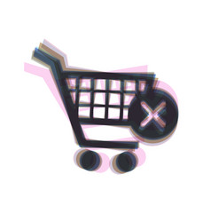 Shopping cart with delete sign colorful vector
