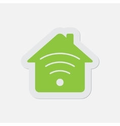 simple green icon - house with signal vector image vector image