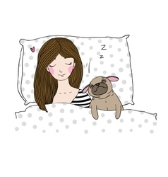 Sleeping beautiful young girl and a cute pug vector