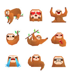 Sloth polygonal set vector