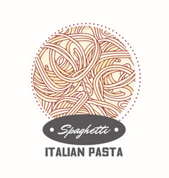 Sticker with hand drawn pasta spaghetti vector
