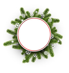 white round background with christmas wreath vector image vector image