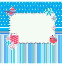 Winter frame with cute birds and snowflakes vector image vector image