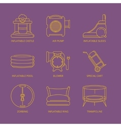 Mono line icons set of inflatable castles vector