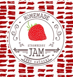 Jam label design template for strawberry dessert vector image