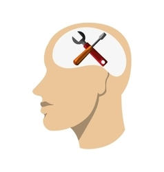 Head with screwdriver and wrench icon vector