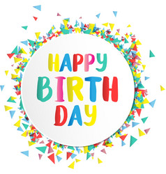 Happy birthday on paper label vector
