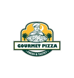 Gourmet pizza chef palmetto trees shield retro vector
