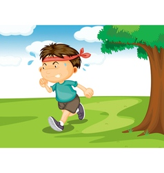 A boy running outside vector