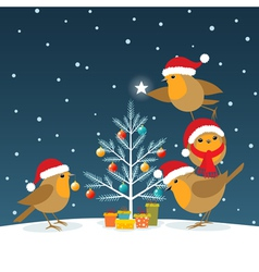 Funny christmas robins vector