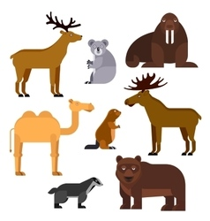 Wild animals flat cartoon isolated icons vector