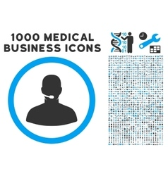 Call center operator icon with 1000 medical vector