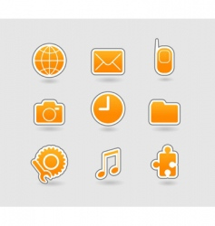 Set of yellow icons vector