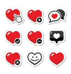 Heart love icons set vector