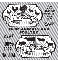 Farm animals and poultry vector