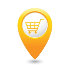 Shop basket icon yellow pointer vector