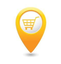 shop basket icon yellow pointer vector image