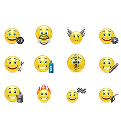 Racing equipment smiles icons set vector