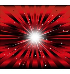 Burst red and black background with ray and star l vector image