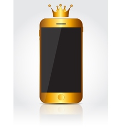 New Realistic Gold Mobile Phone With Black Screen vector image