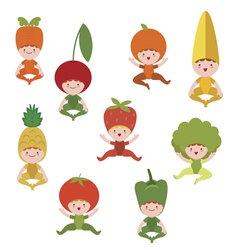 Baby vegetables and fruits collection vector
