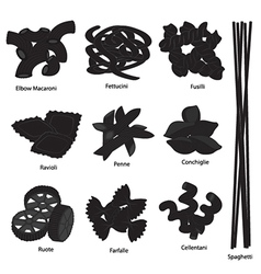 Type of pasta set vector