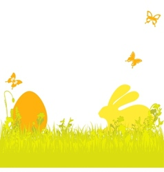 Easter background with easter egg and bunny vector