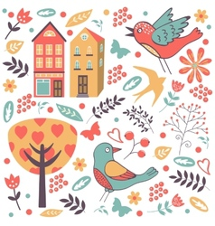 Colorful composition with birds flowers and vector image